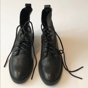 Dolce Vita Black Leather Combat Boots 8